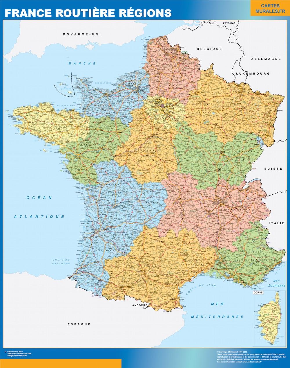 Carte France Routiere Regions Magnetique Cartes Magnetiques France Et Monde
