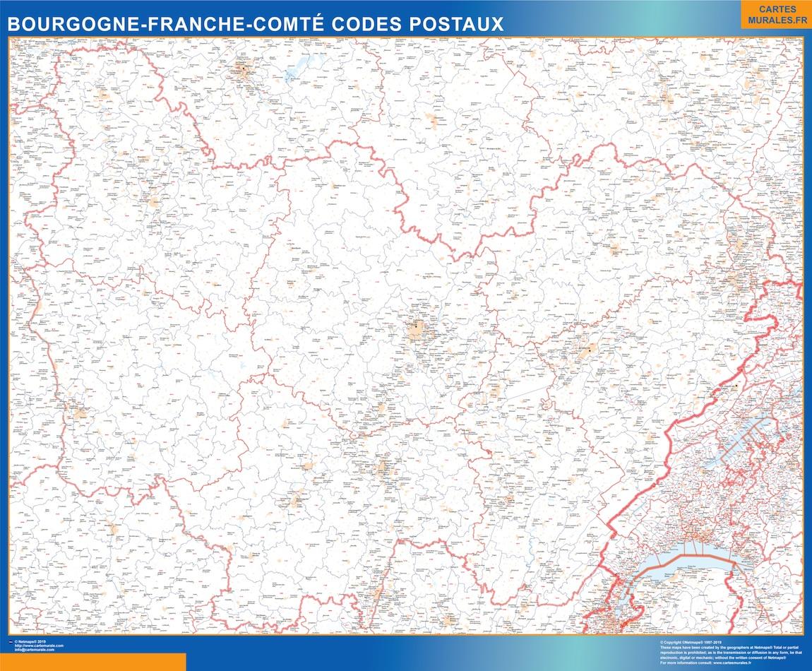 Carte Region Bourgogne Franche Comte Codes Postaux Magnetique Cartes Magnetiques France Et Monde