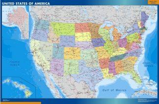 Carte plastifiée Etats Unis